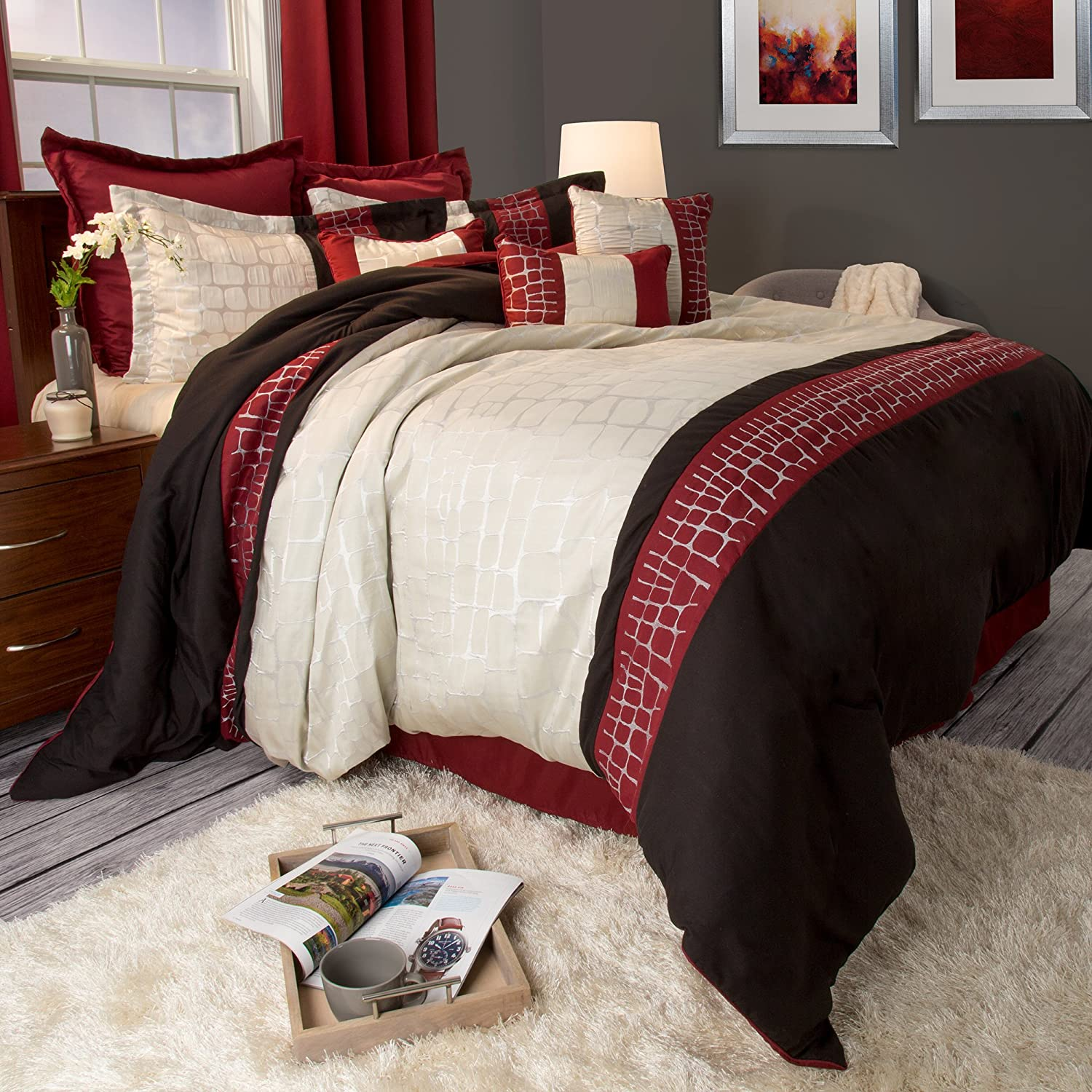 Bedford Home Ashley 10 Piece Comforter Set - King - Silver 66A-58852
