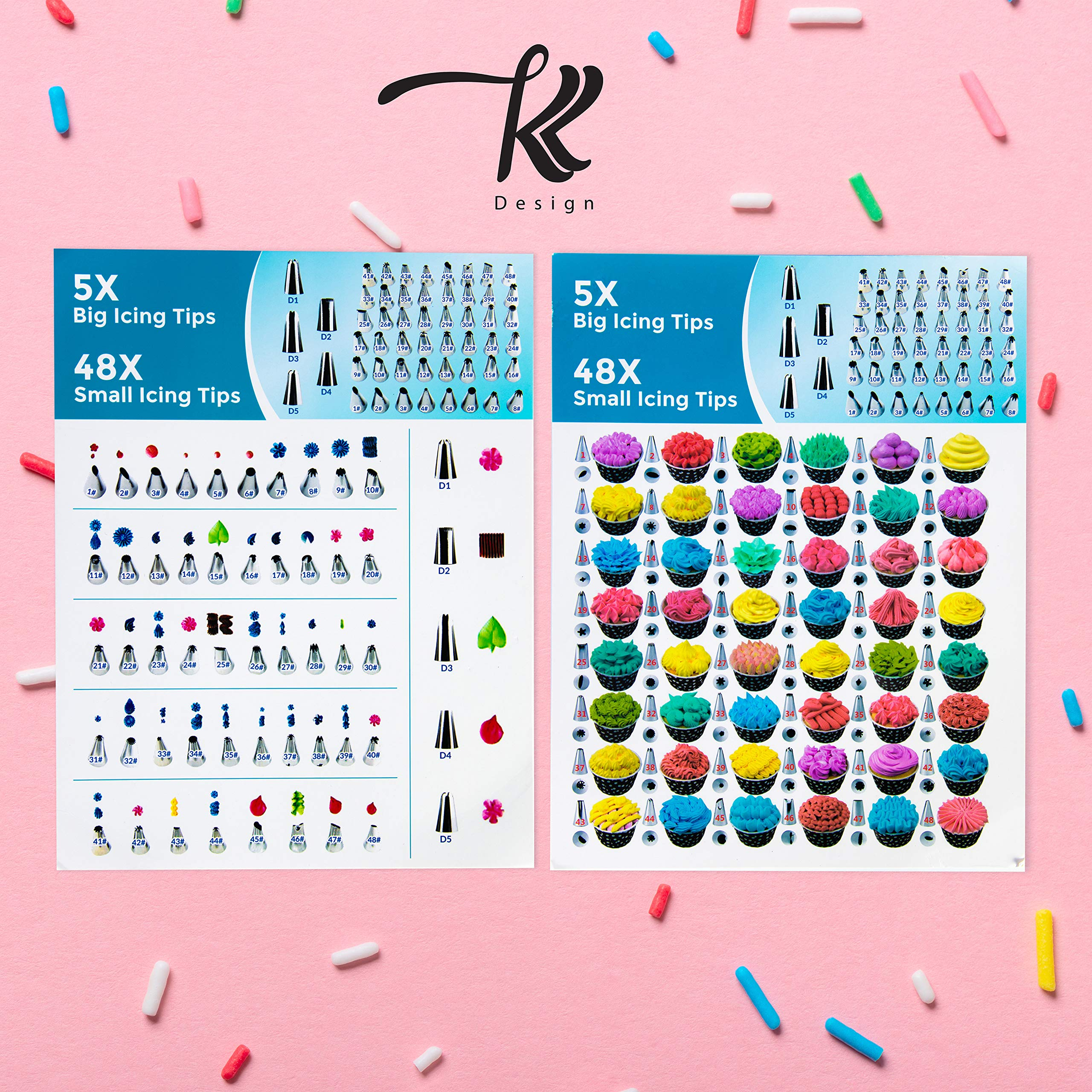 186 Pcs Cake Decorating Supplies Kit,Aluminium Rotating Turntable Stand,Frosting Piping Tips,100 Disposable Bags,Couplers,Scrapers,Spatulas,Cutter,Smoother,Flower Nails,Lifter,Baking Tools Set by K&K Design (Image #3)