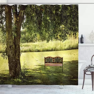Ambesonne Tree Shower Curtain, Wooden Bench Under Shady Big Tree in The National Park Fresh Tranquil Scenery, Cloth Fabric Bathroom Decor Set with Hooks, 70