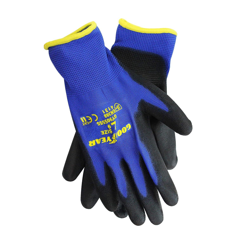 Goodyear Nylon PU Coated Safety Work Gloves Garden Grip Men Builder Gardening Mechanics Cut Tear Resistant Puncture EN388 4131 and CE Cat II certification - Medium