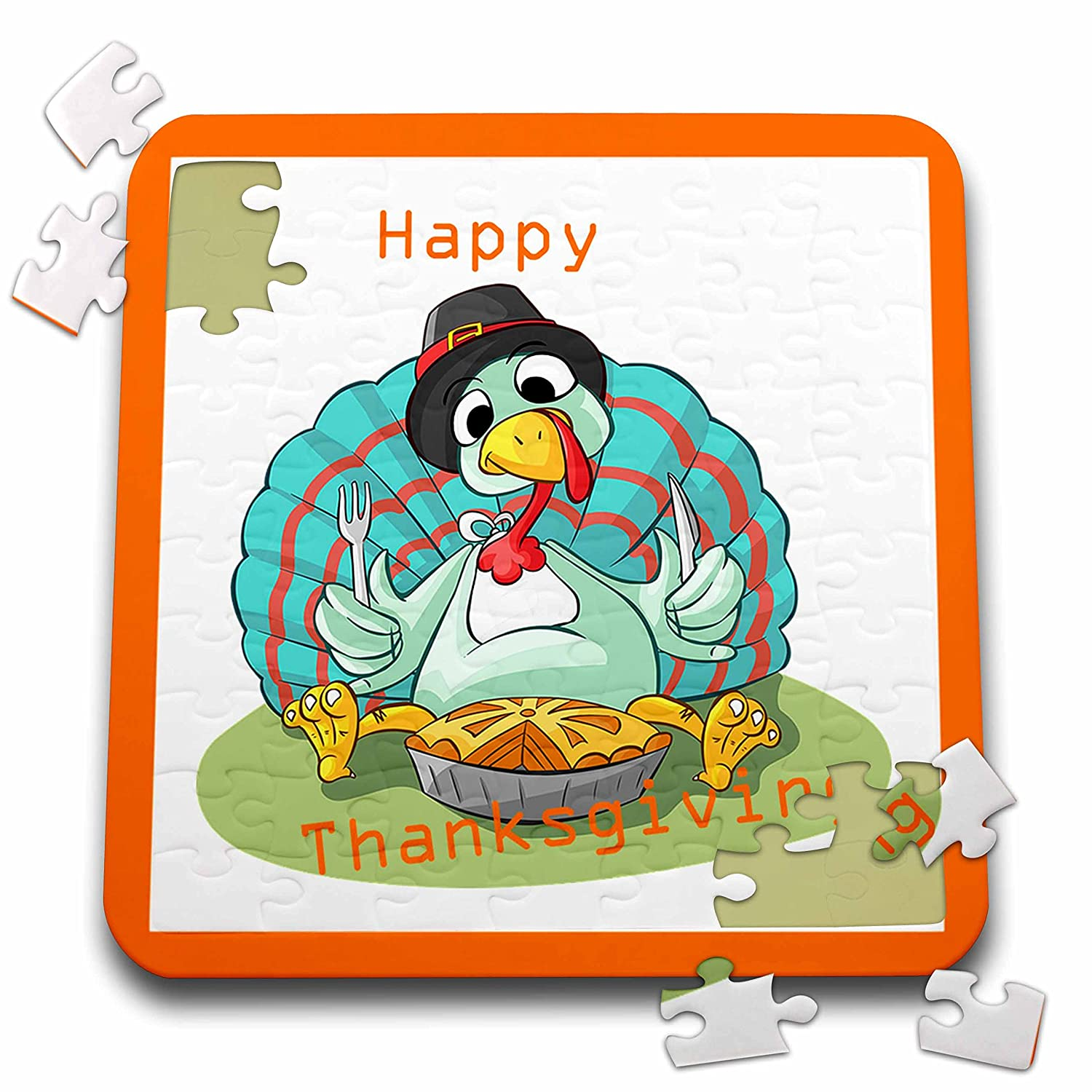 Thanksgiving - Image of Happy Thanksgiving Cartoon Turkey - 10x10 Inch Puzzle - 70 Pieces