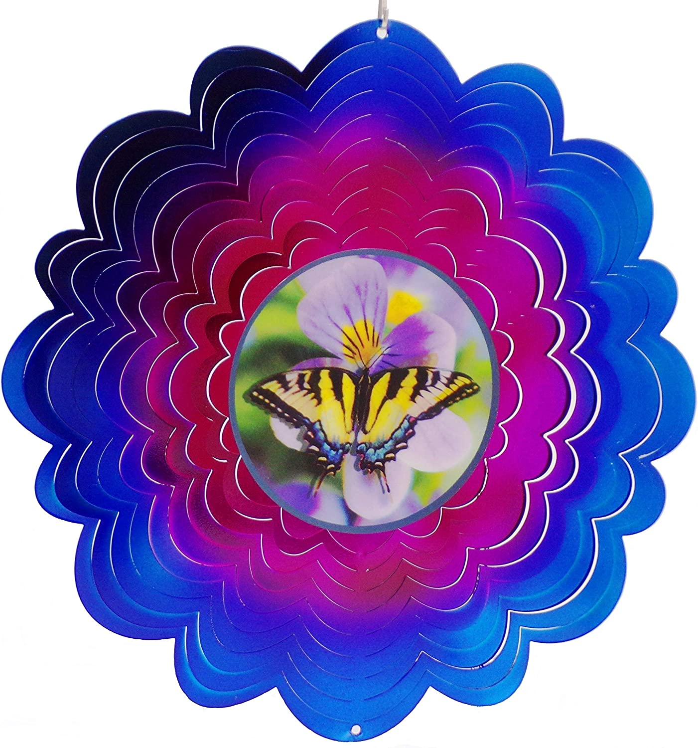 Butterfly Holographic Hanging Wind Spinner Stainless Steel Indoor/Outdoor 12