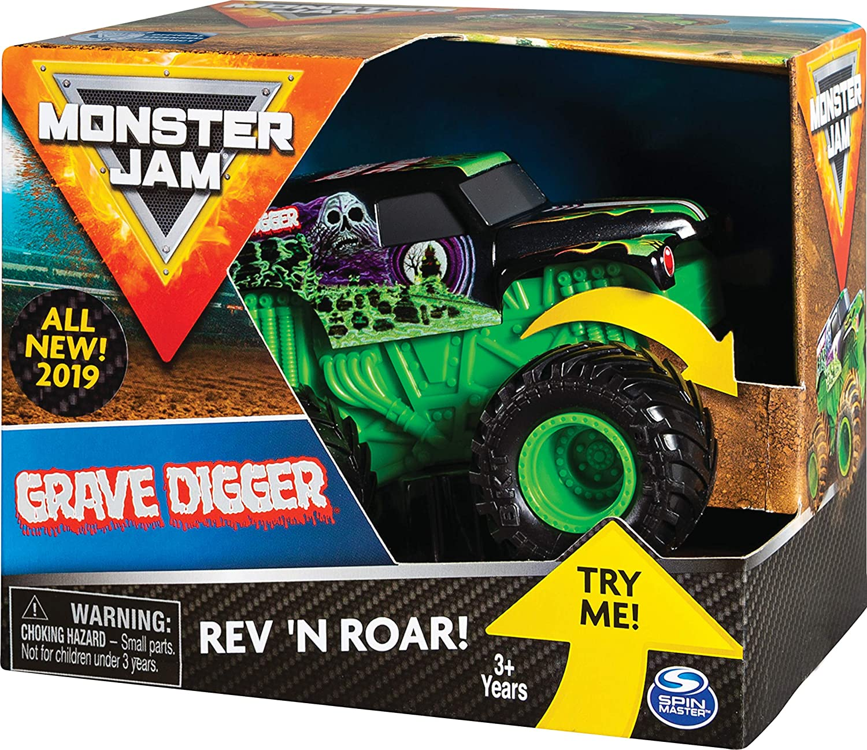 Amazon Com Monster Jam Official Grave Digger Rev N Roar Monster Truck 1 43 Scale Toys Games