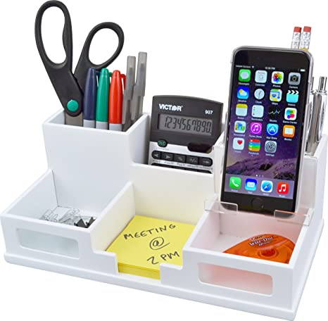 261bdf4804 Amazon.com : Victor Wood Desk Organizer with Smart Phone Holder, Pure  White, W9525 : Office Products