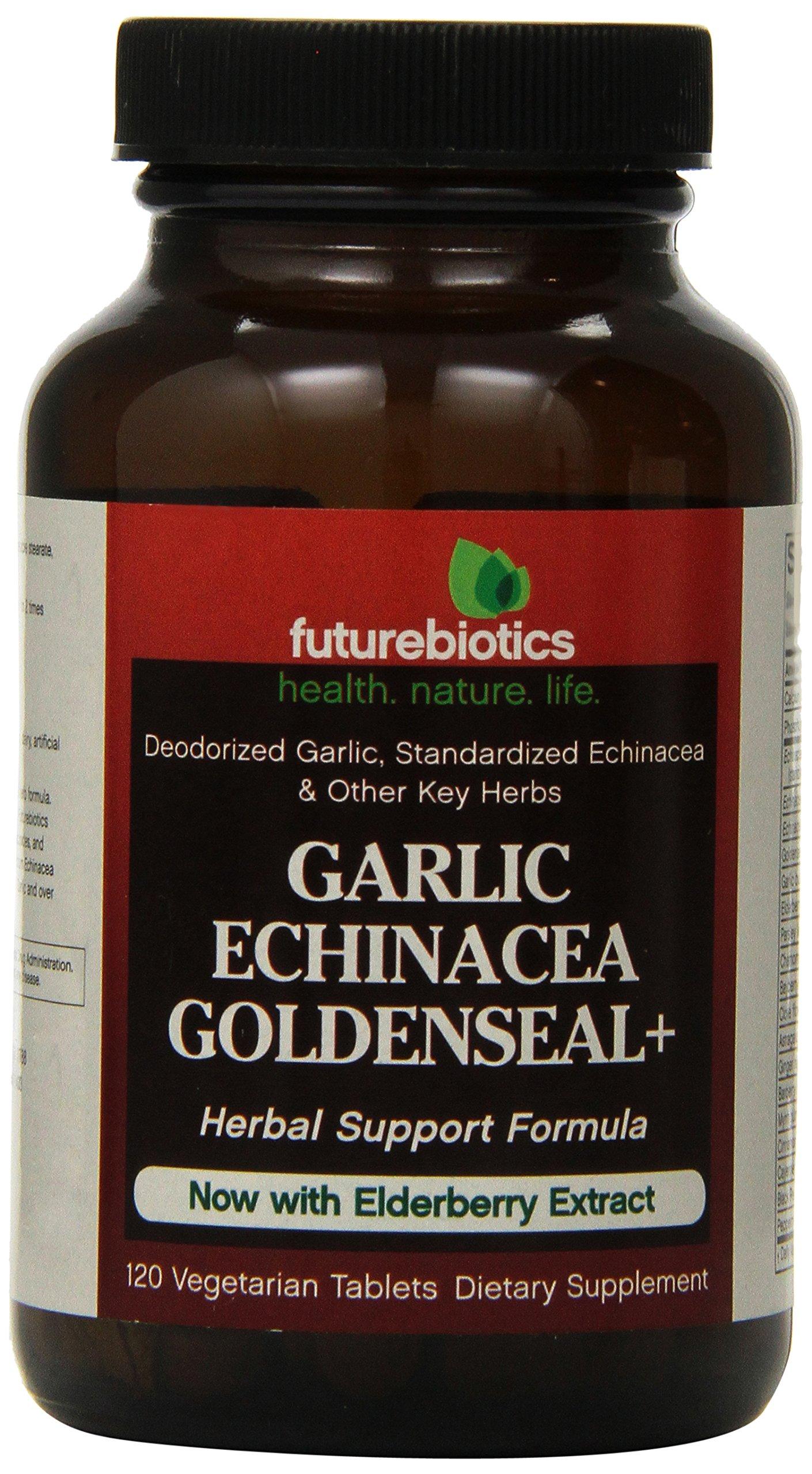 Futurebiotics Garlic Echinacea Goldenseal Plus Tablets, 120-Count (Pack of 12)