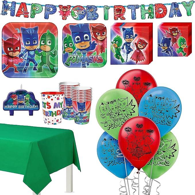 Kit de fiesta de cumpleaños de PJ Masks, incluye pancarta y decoraciones, sirve 16, por Party City