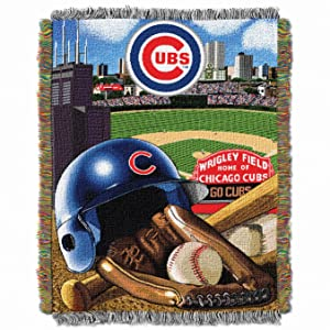 "Officially Licensed MLB Home Field Advantage Woven Tapestry Throw Blanket, Soft & Cozy, Washable, Throws & Bedding, 48"" x 60"""
