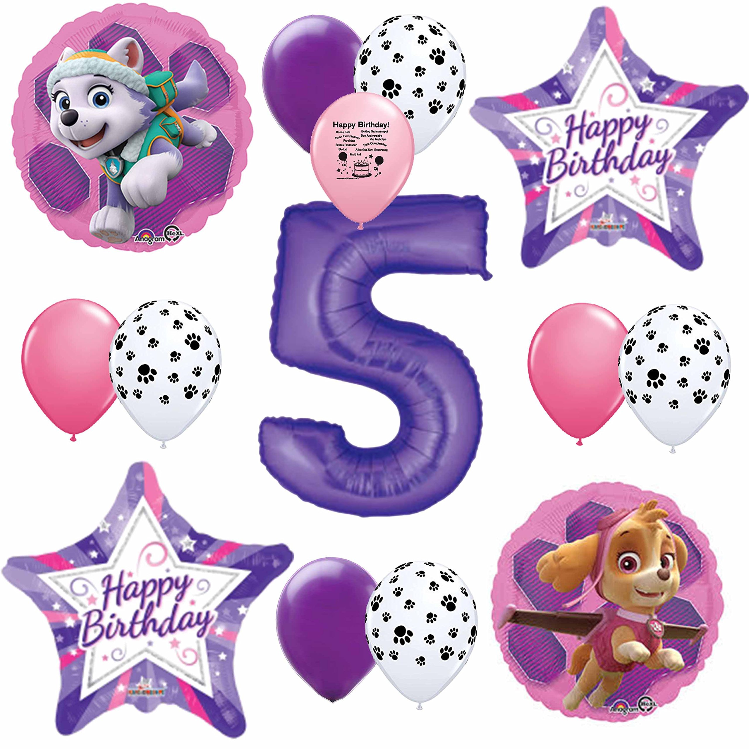 Details About Skye Pink Paw Patrol Happy 5th Birthday Balloon Set
