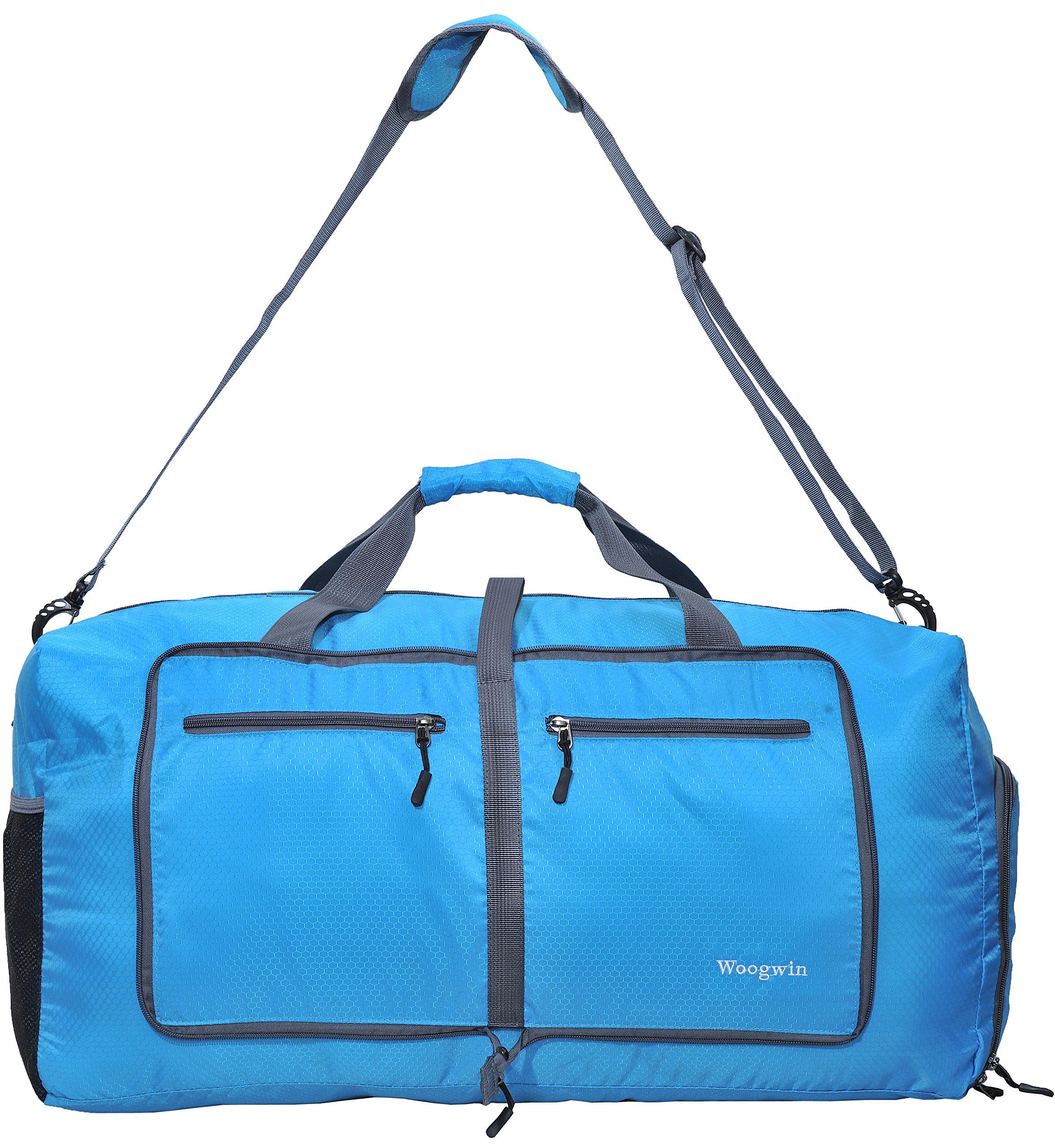 Woogwin Womens & Mens Travel Duffel Bag 60L Foldable Duffle Bags For Luggage Gym Sports (Blue)
