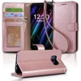 Galaxy s8 Case, Arae [Wrist Strap] Flip Folio [Kickstand Feature] PU leather wallet case with ID&Credit Card Pockets For Samsung Galaxy s8 (NOT for galaxy s8 plus), (Rosegold)