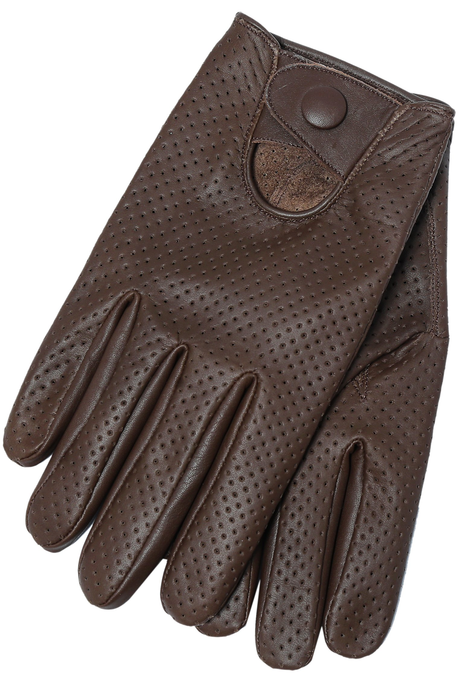Riparo Motorsports Men's Genuine Leather Mesh Driving Gloves (Large, Dark Brown)