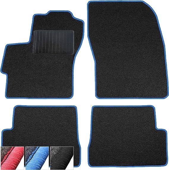 Moto Moltico Fußmatten Auto Velours Autoteppiche Schwarz Automatten Set 4 Teilig Passend Für Mazda 2 Ii 2007 2015 Blaue Ziernähte Auto