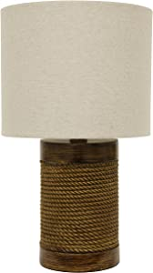 Décor Therapy TL15455 Table Lamp, Natural Rope/Wood Look