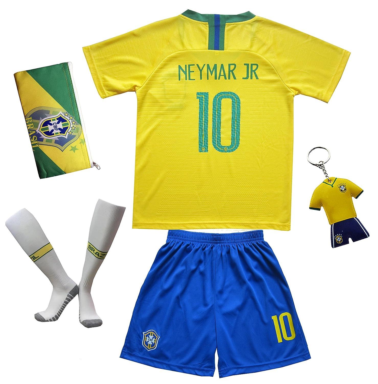 a23f7340b6c Amazon.com   KID BOX Brazil  10 Neymar JR. Kids Home Soccer Jersey   Shorts  Socks Set Youth Sizes   Sports   Outdoors