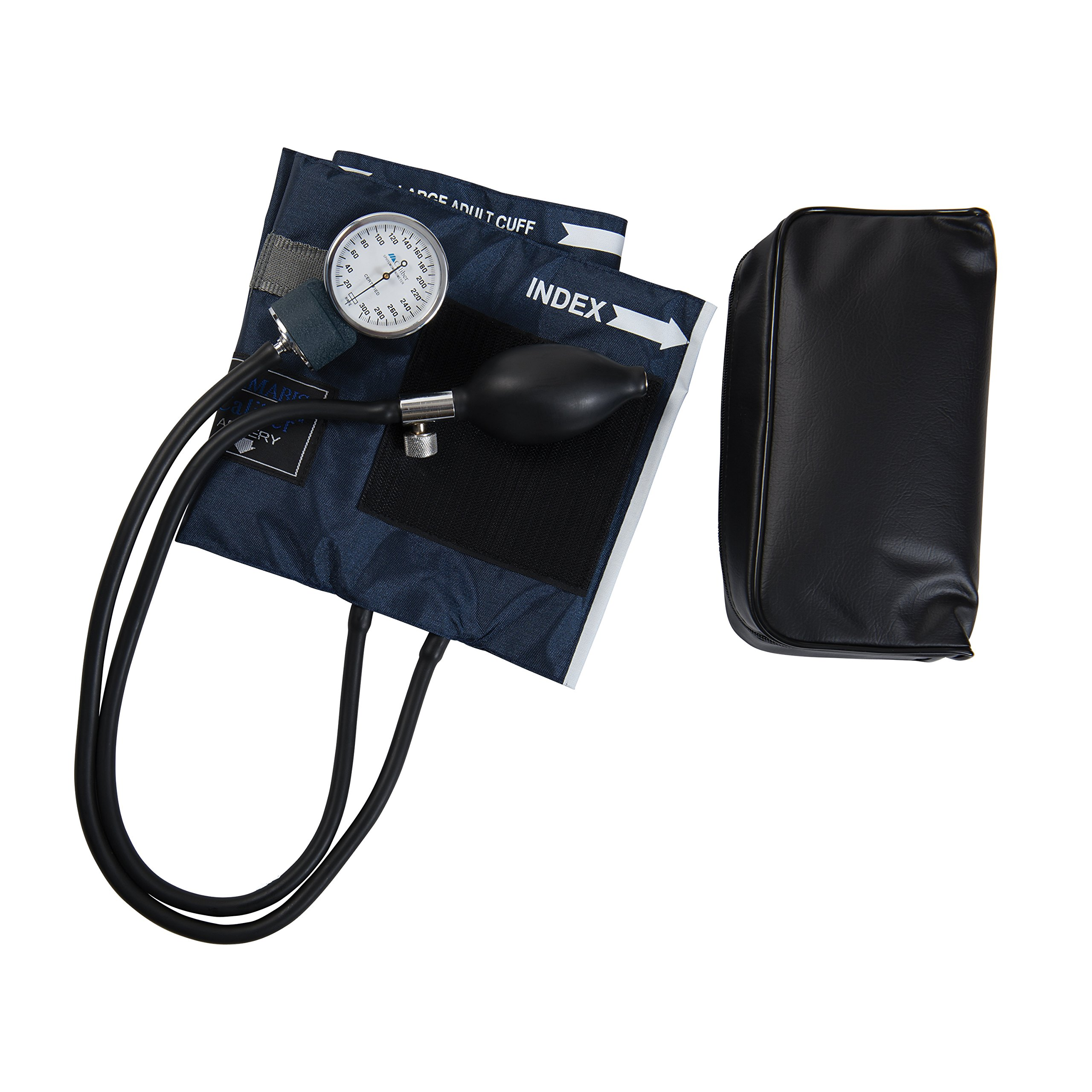 Mabis Caliber Series Aneroid Sphygmomanometer Manual Blood Pressure Monitor, Cuff Size 13 to 20 Inches, Large Adult