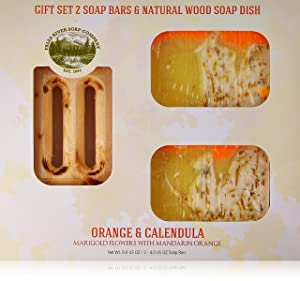 Orange Soap with Calendula Oil (GIFT SET) - Handmade Soap Bar with Orange, Yuzu and Calendula Essential Oils, flower petals - Organic and All-Natural – by Falls River Soap Company