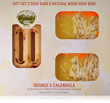 Orange Soap Bar with Calendula Oil - Handmade Organic with Essential Oils. Natural Moisturizing Body