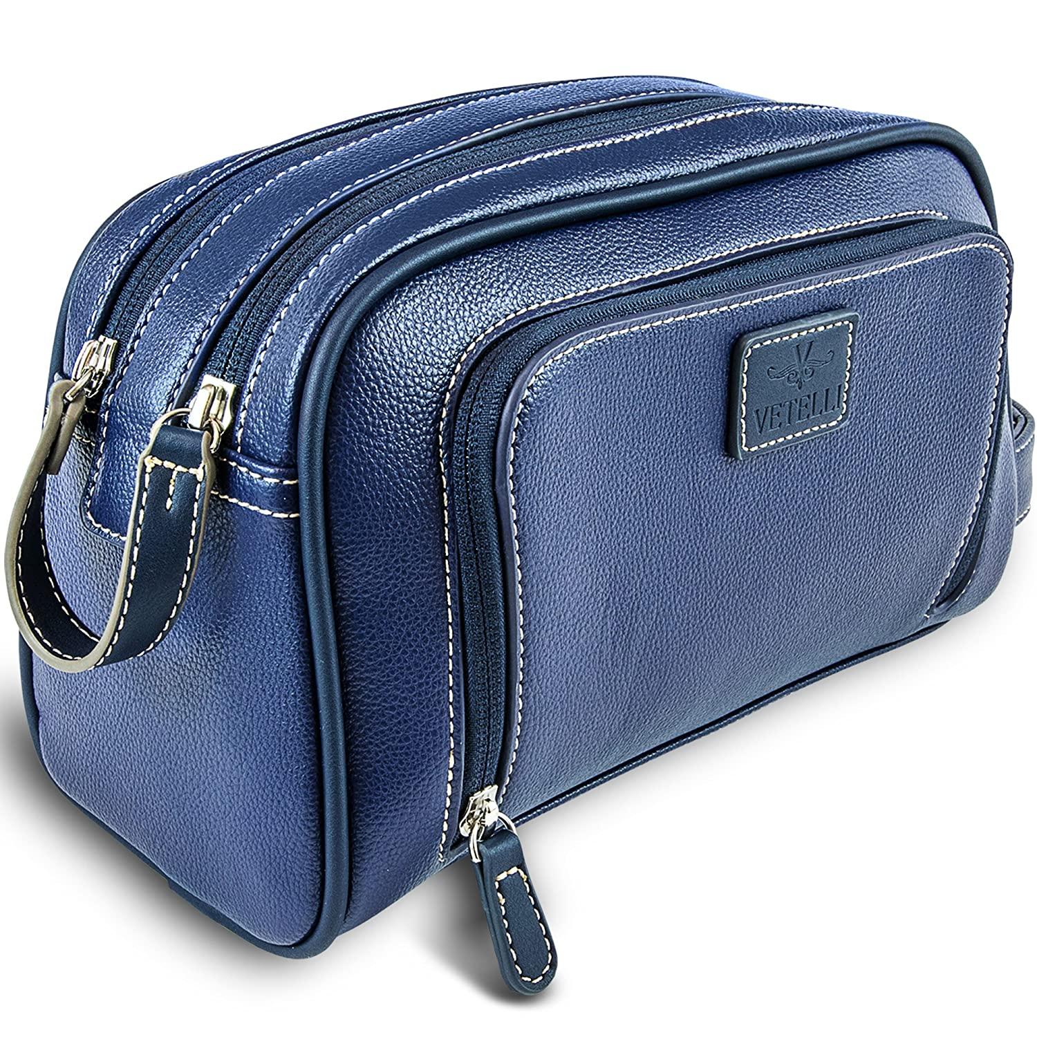 Vetelli Gio Leather Toiletry Bag for Men – Dopp Kit – Handmade for Travelling Vacations and Adventures Blue