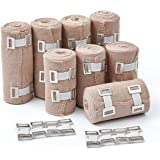 Premium Elastic Bandage Wrap Compression Roll, Set of 8 Pack Polyester Cotton. Four Rolls of Each Size, 4 Inch x 5 Feet…