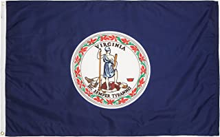 product image for Valley Forge, Virginia State Flag, Nylon, 3' x 5', 100% Made in USA, Canvas Header, Heavy-Duty Brass Grommets