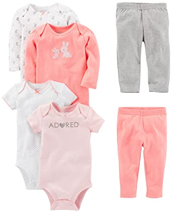 Amazon.com  Simple Joys by Carter s Baby Girls  6-Piece Bodysuits ... 75290e08b