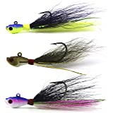 Bucktail Jig Fluke Lures Saltwater Freshwater Fishing Baits Assorted Kit for Bass Striper Bluefish Surf Fishing Size 1/4-2ounce by Shaddock Fishing - pack of 3