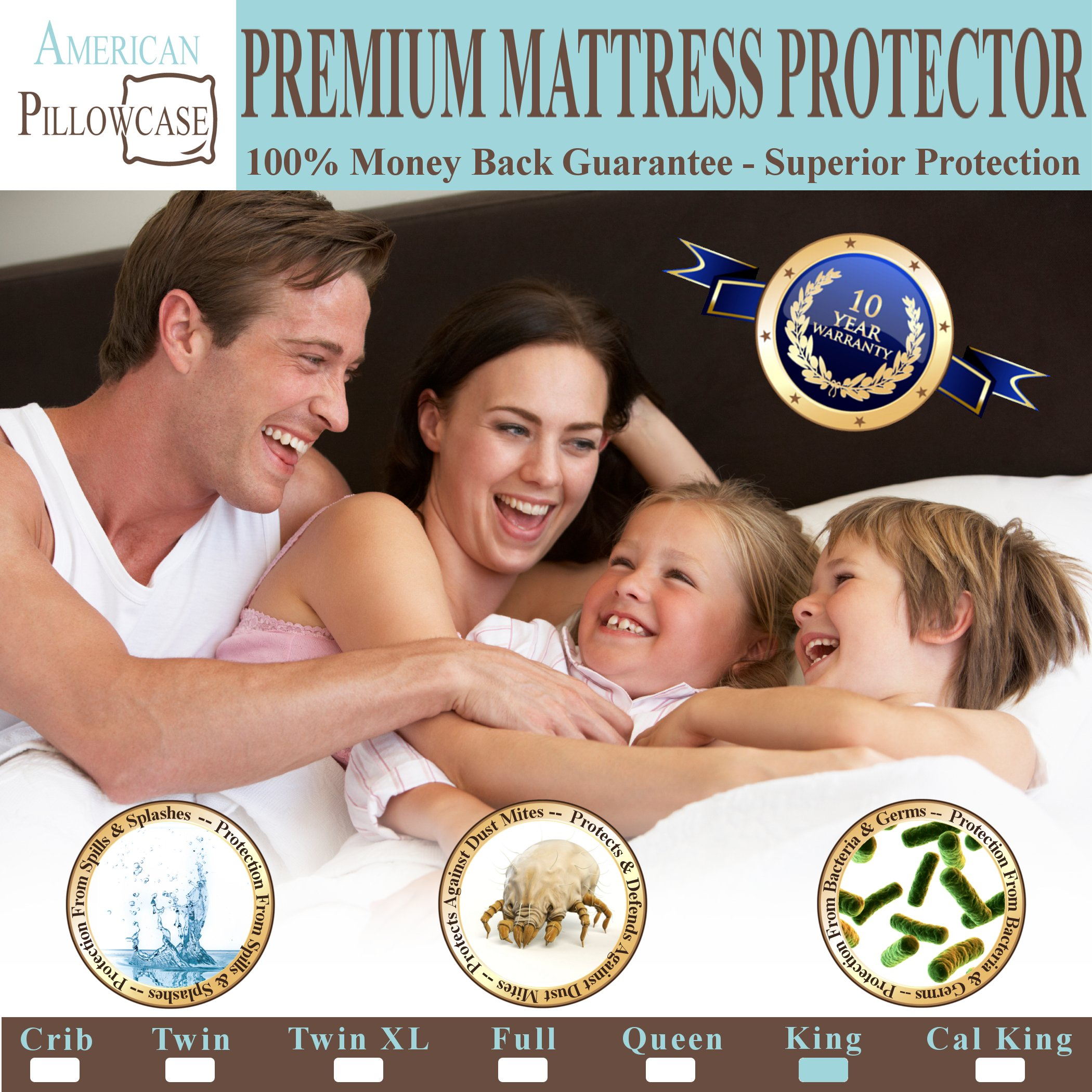 American Pillowcase King Mattress Protector Hypoallergenic Waterproof - Vinyl Free - Fitted Sheet Style