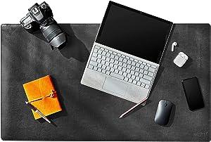 Delancey USA 26 x 15.5 Black Inches Office Desk Pad, Leather Desk Blotter Pad, Desk Mat Protector
