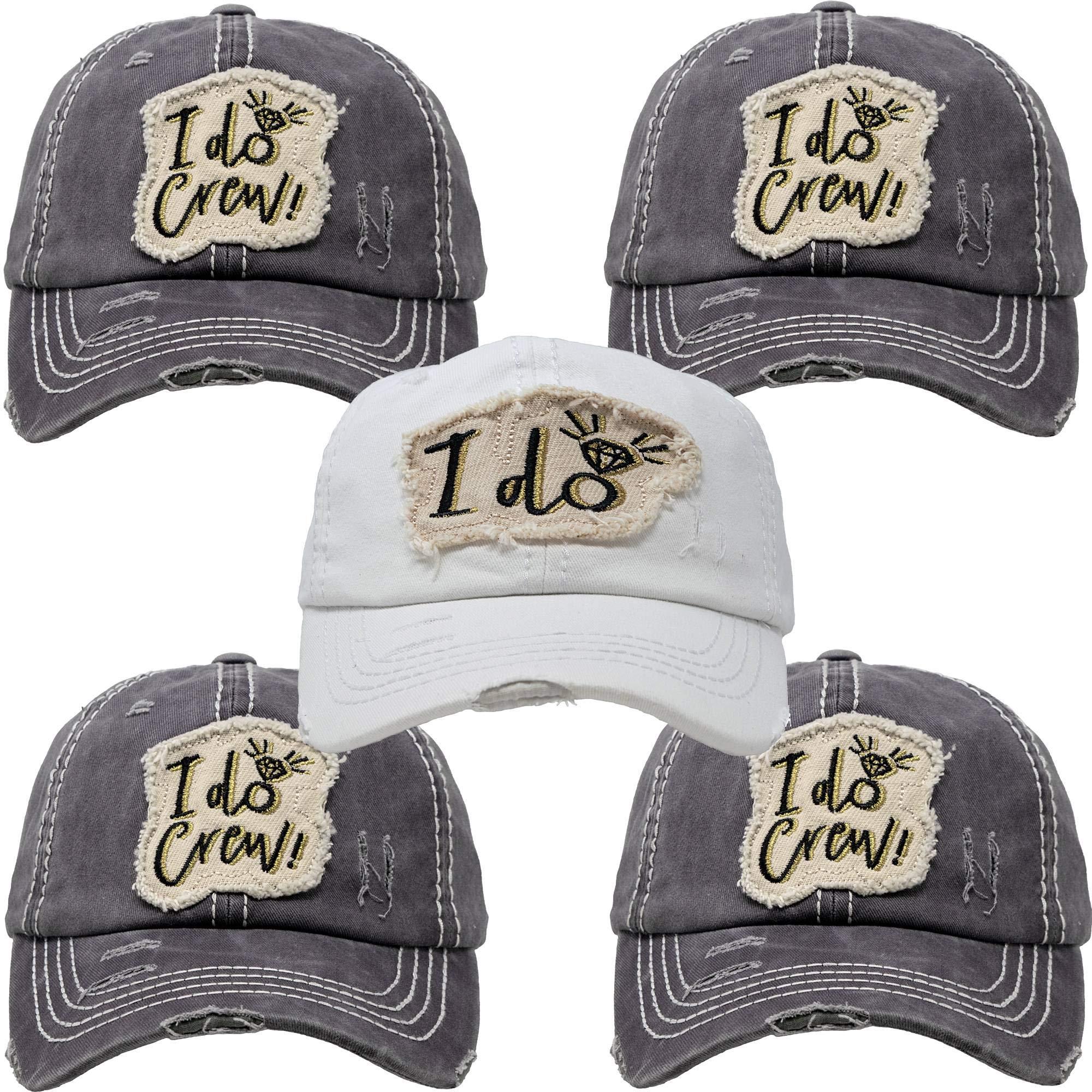 BH-202-5-ID.4IDC70 Bridal Hat Bundle: I do, 4 I Do Crew (Grey) by Funky Junque