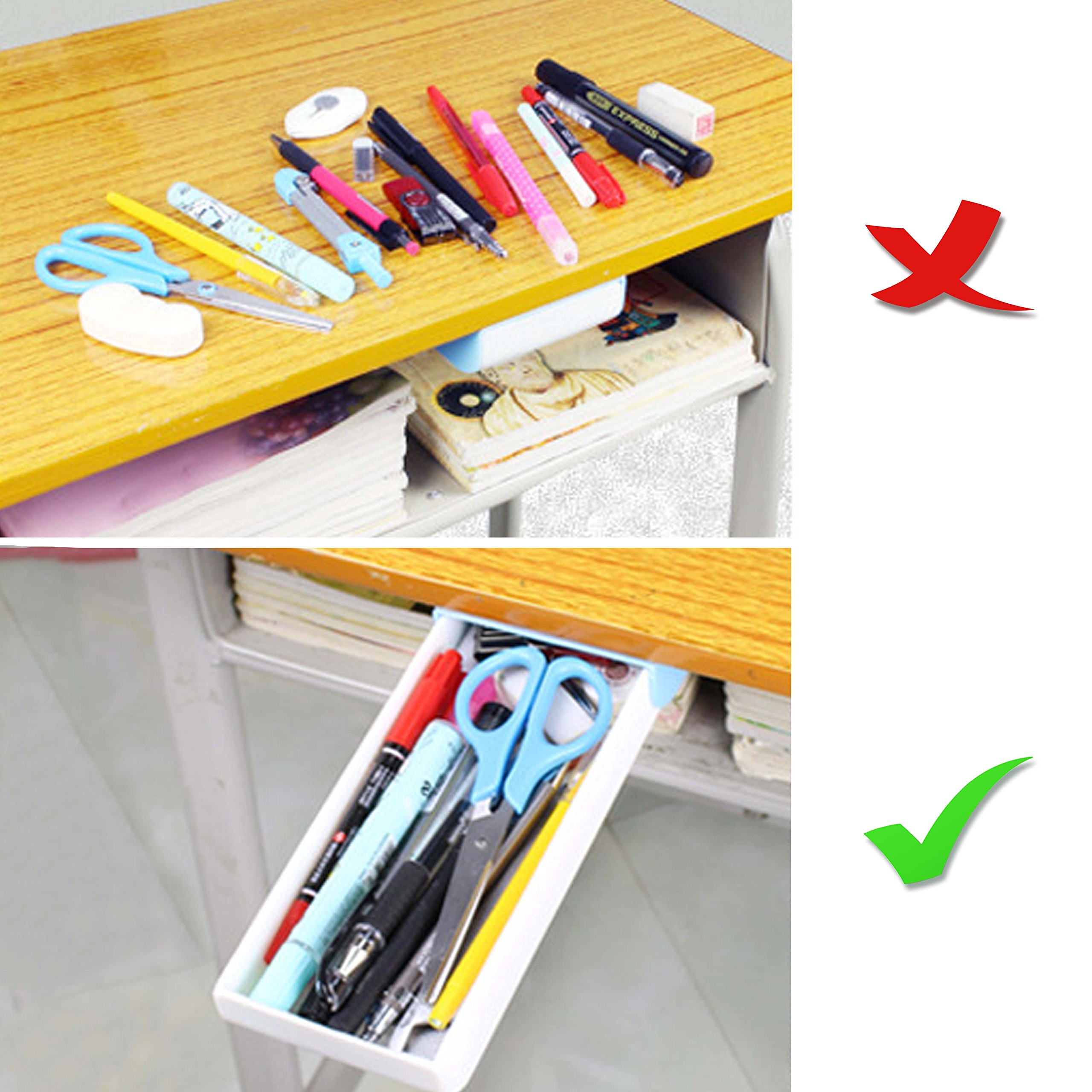 Easy Eco Life Pen Pencil Tray/ Remote Tray -- Self Stick Pop Up Under Desk Table Drawer Organizer Holder ( Best Gift For Kids, Gift Package) by Easy Eco Life (Image #6)