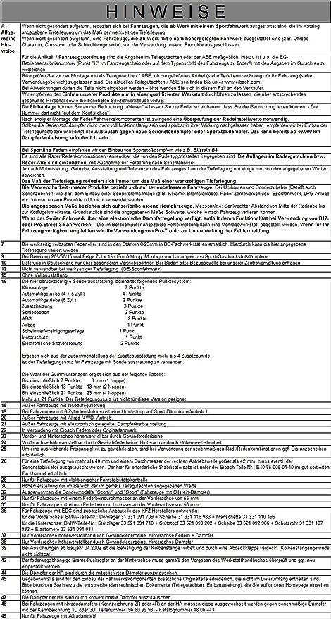 eibach E10-15-010-07-22 Tieferlegungsfedern Pro Kit Hinterachse Federn f/ür Vorderachse