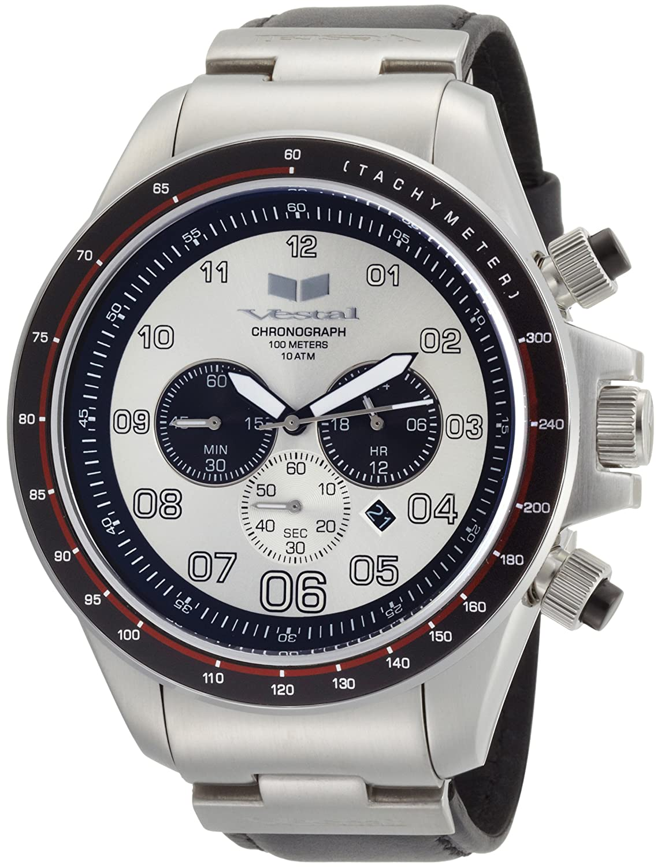 Vestal Herren-Armbanduhr ZR-3 Chronograph Leder schwarz ZR3L003