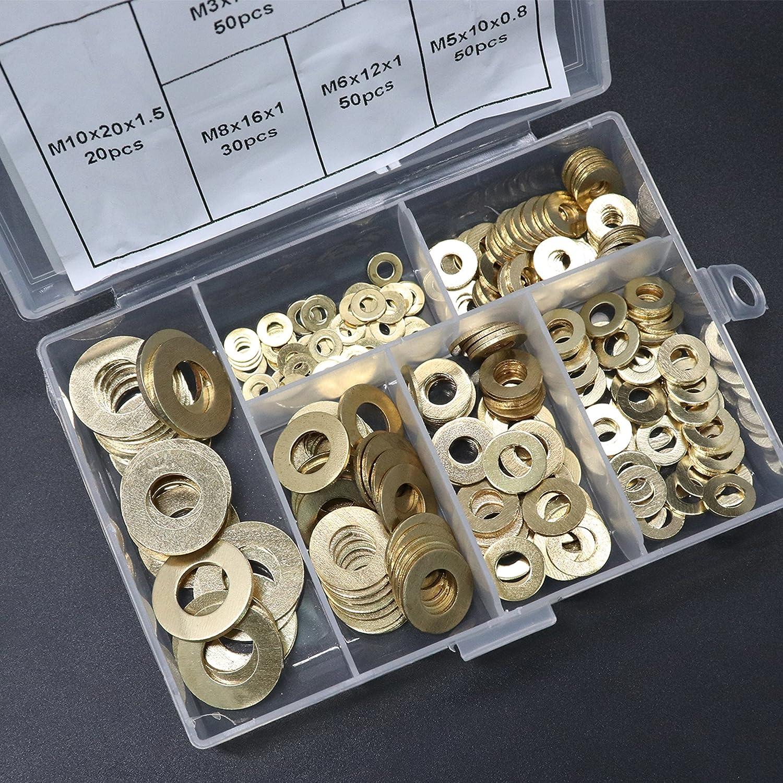 Boeray 120pcs 8 Models Metric Red Copper Crush Washer Metric Sealing Washer Ring Assortment Kits