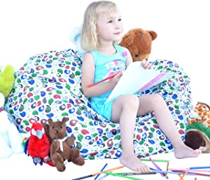 Lean Living Extra Large Stuffed Animal Bean Bag - Clean Up The Room and Relax on The Plush Toy Organizer - 38