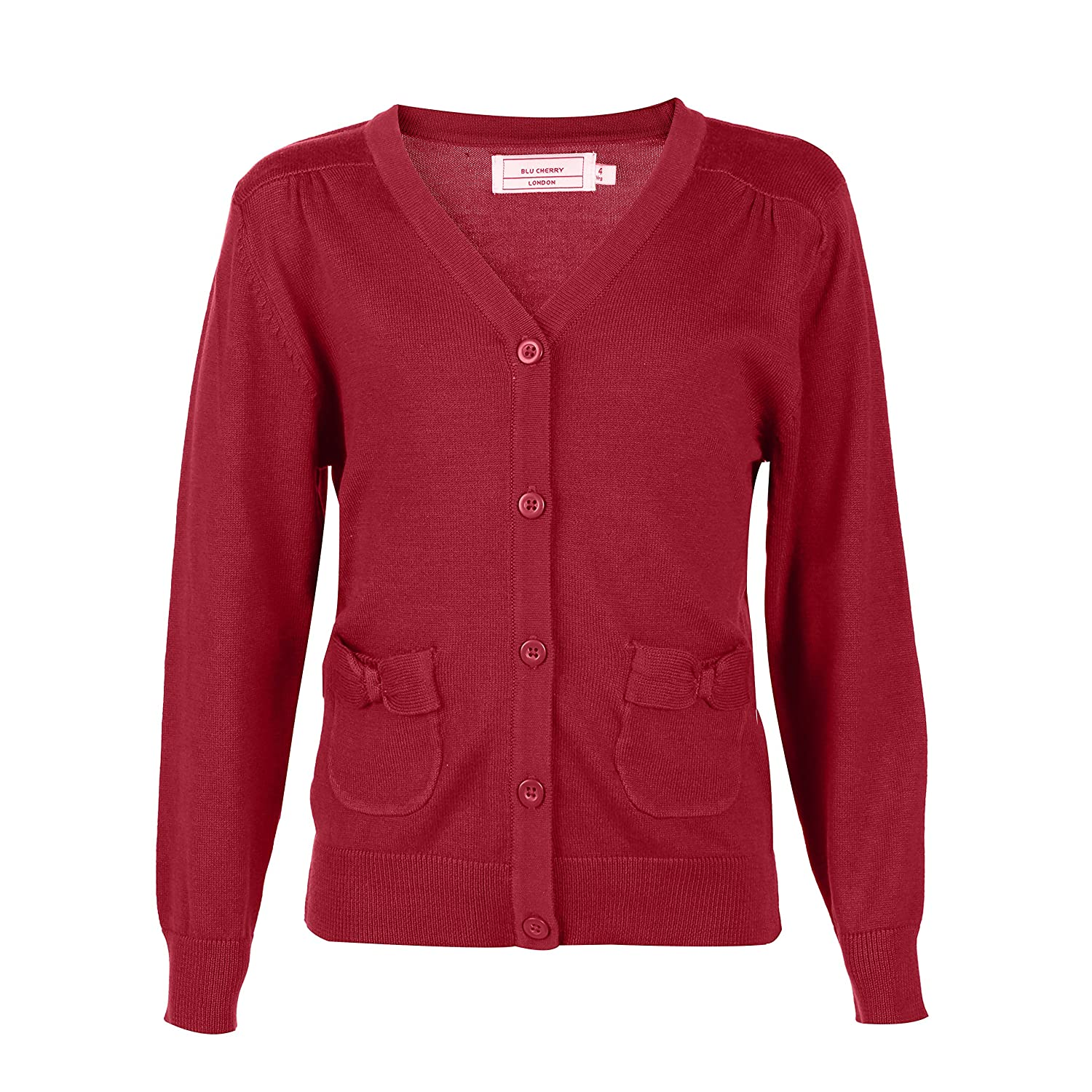 Blu Cherry Girls Cardigans with Pockets V-Neck School Uniforms Long Sleeve All Year Around