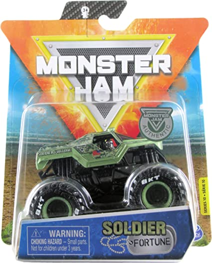 Amazon Com Monster Jam 2020 Spin Master 1 64 Diecast Monster Truck With Wristband Legacy Trucks Soldier Fortune Toys Games