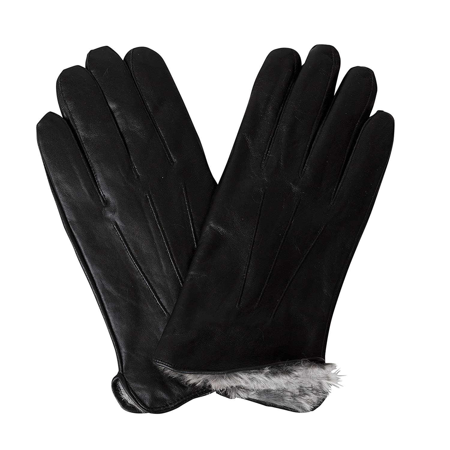 Black leather gloves with fur - Men S Luxury Rabbit Fur Lined Genuine Butter Soft Black Leather Gloves Small At Amazon Men S Clothing Store