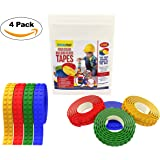 Building Blocks Tape By Smyrna Print: Nontoxic Strips In 4 Colors –Reusable Lego Brick Tape Rolls With Adhesive Backing -Flexible & Cuttable Silicone Lego Compatible Tape For Kids & Adults