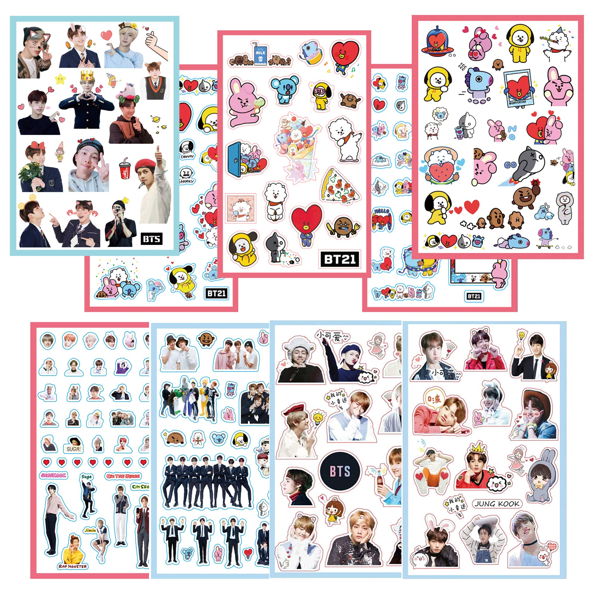 BTS Stickers and Facial Decals Paper Doll Sticker Pack Set for Phone Car Pad Laptop Water Bottles,Bangtan Boys Gift Set for Army