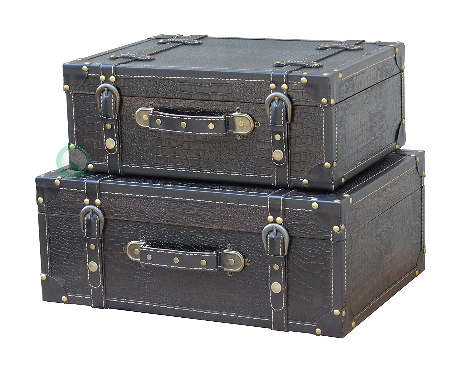 Amazon.com: Vintiquewise(TM) Antique Style Leather Suitcase with ...