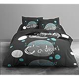 Today 016034 Enjoy A 2 Parure de lit avec Housse de couette/2 Taies d'oreiller Coton Gris/Blanc/Bleu 220 x 240 cm