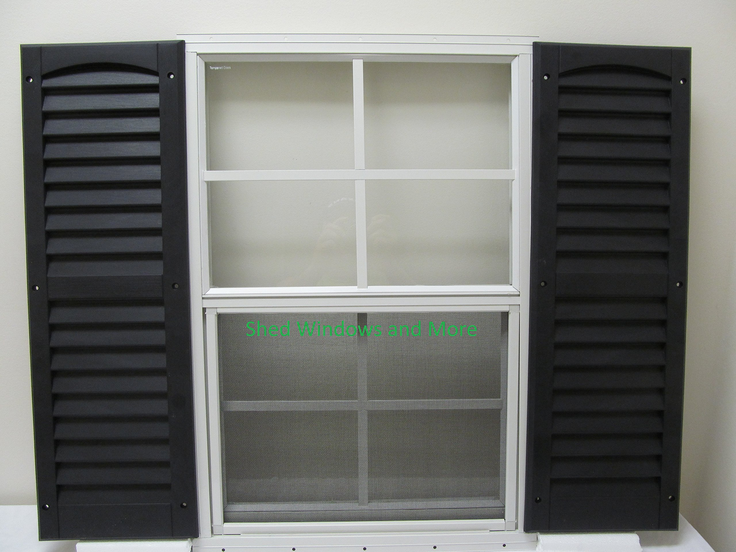 Shed Window + Shutters (Pair Black Shutters) 18'' X 27'' White Flush Mount, Storage Shed, Playhouse