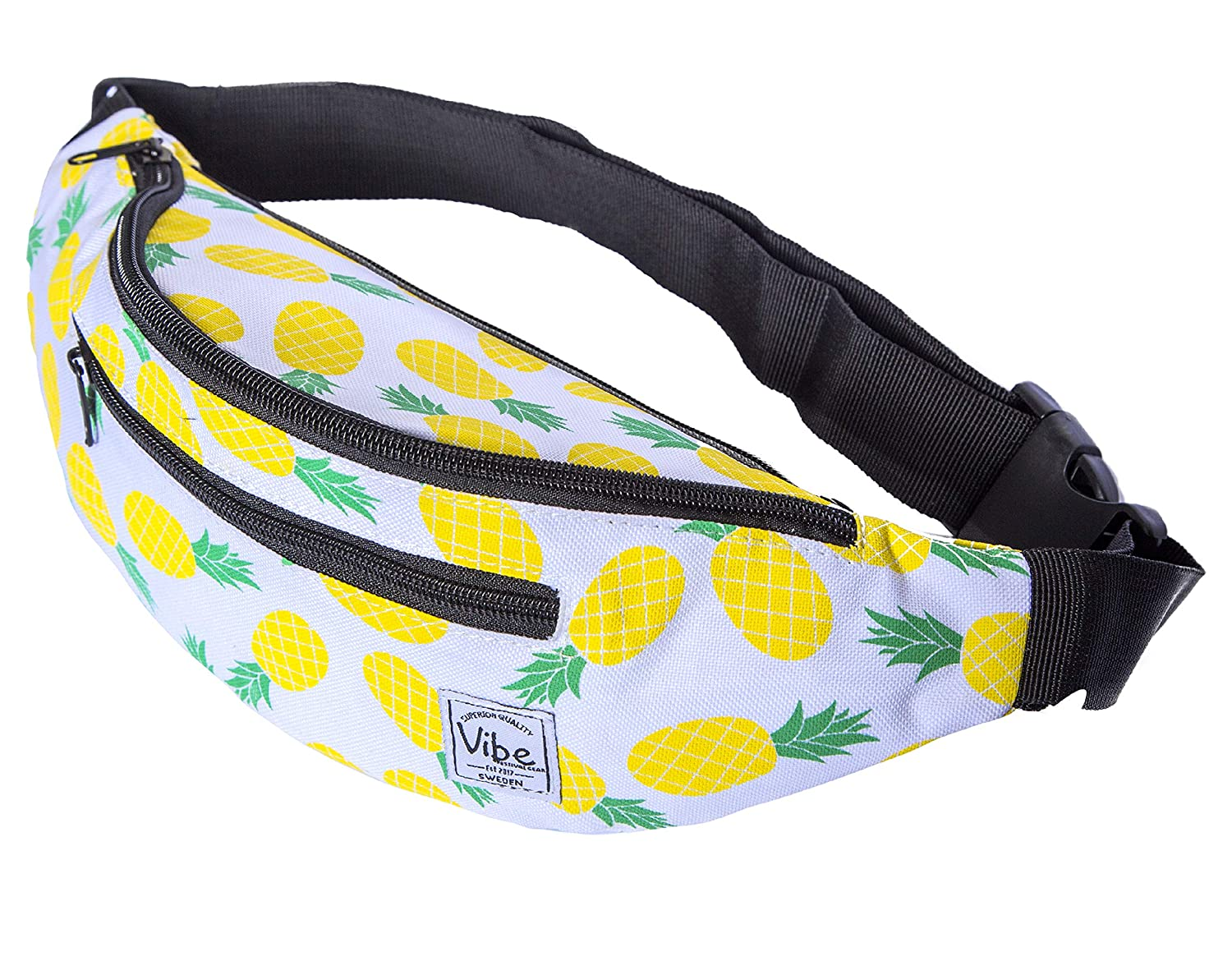 Vibe Fanny Pack Cute Fashion Black Pineapple or Shiny Holographic Silver Gold Belt Waist Bag Bum Bag Purse for Festival Rave Party Travel for Men Women and Teens