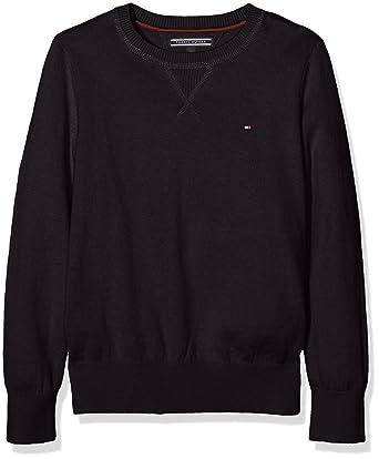 Tommy Hilfiger Jungen Pullover Cotton Cashmere CN Sweater L S, Schwarz  (Meteorite 055 b5a1913edd