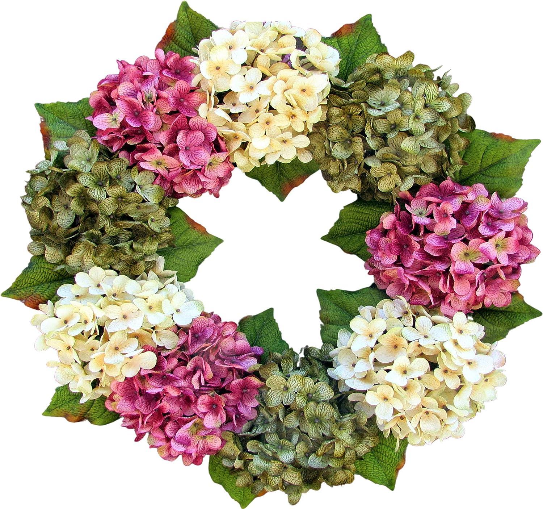 Summer Wreath White and Pink Elegant Wreath Monogram Wreath Spring Wreath Hydrangea Wreath Front door decor W039 Mother/'s Day Gift