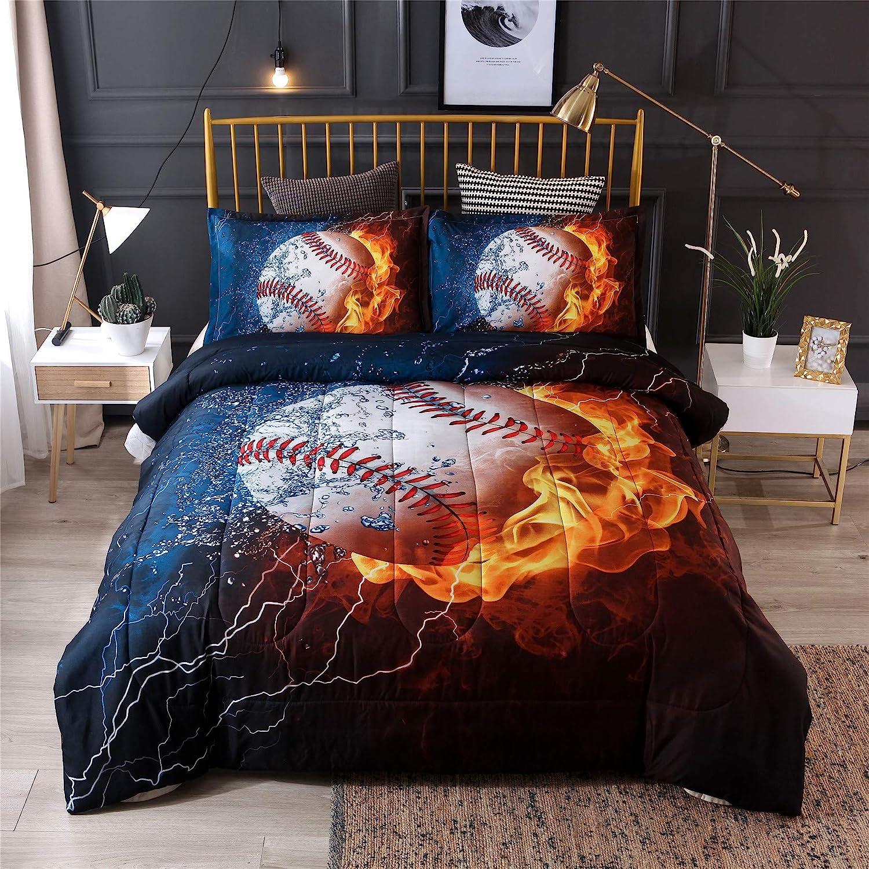 Amazon Com A Nice Night Baseball With Fire Print Comforter Quilt