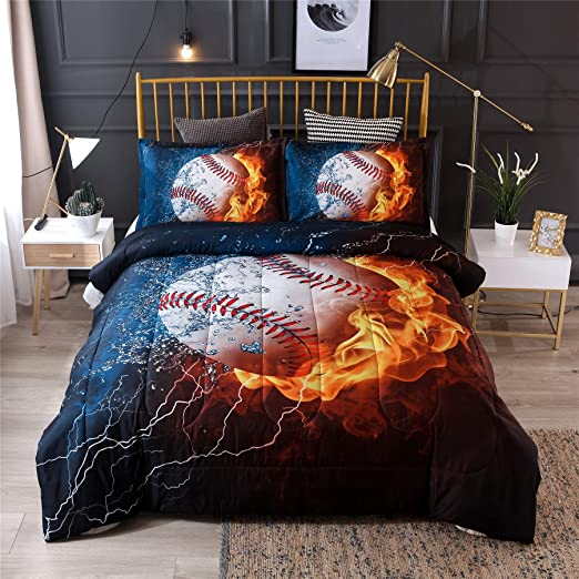 Amazon.com: A Nice Night Baseball with Fire Print Comforter Quilt