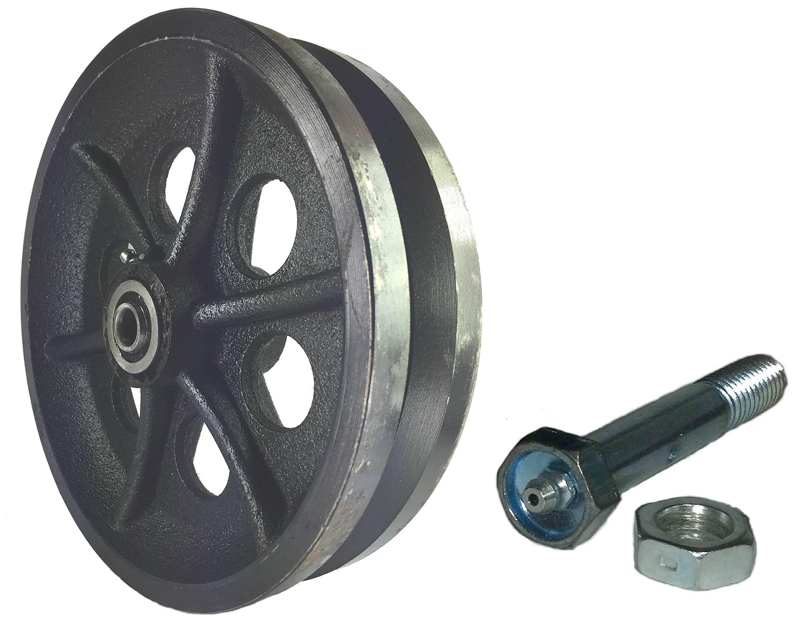 Sliding Barn Door Cast Iron Wheel Kit 8'' X 2'' with 1/2'' Smooth & Quiet Ball Bearings