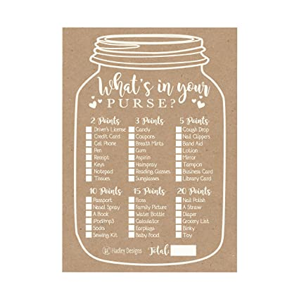 amazon com 25 kraft rustic what s in your purse baby shower game