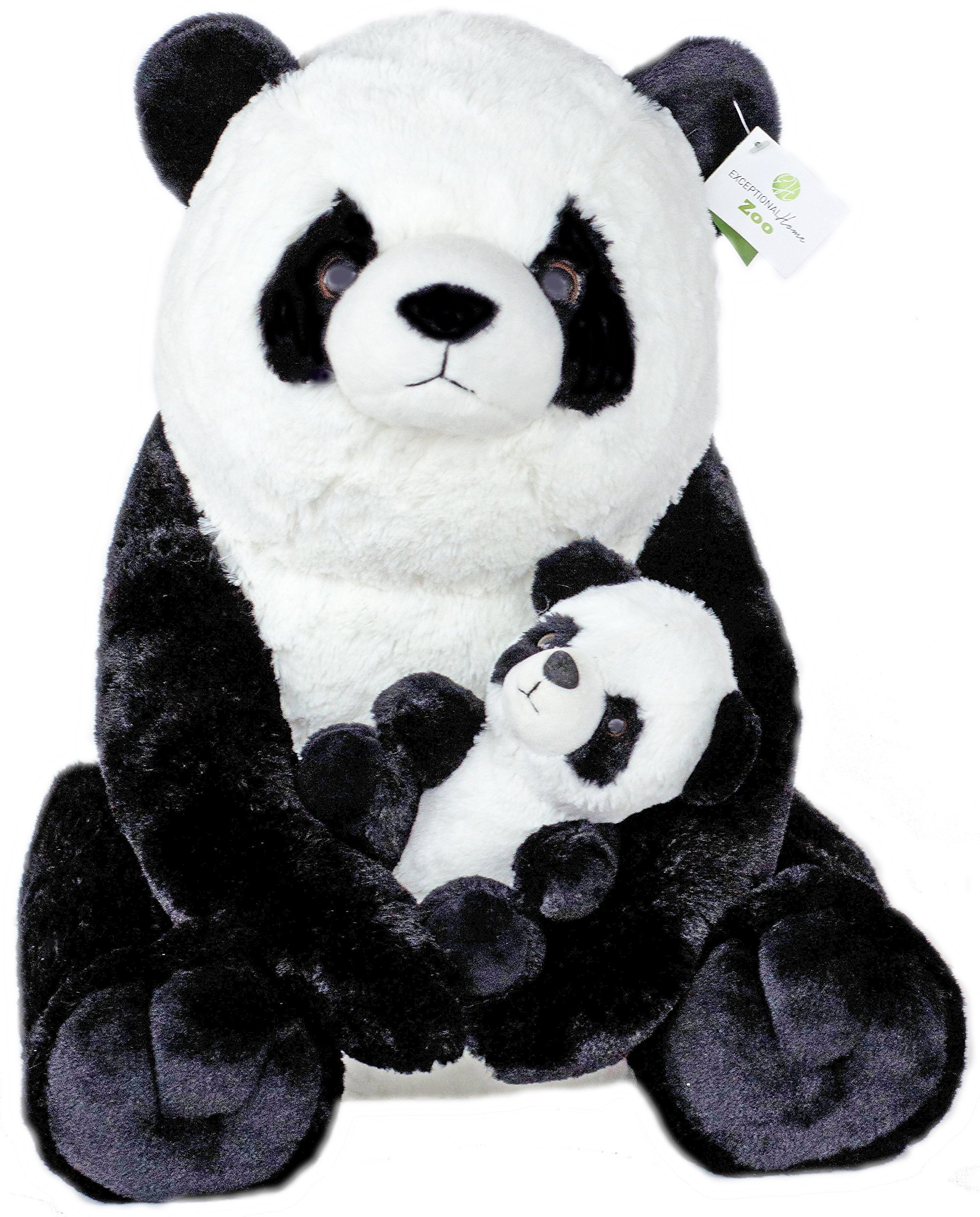 Exceptional Home Giant Pandas Plush Stuffed Animals. 18 inch Teddy Bear with Baby Panda. Kids Toys Gift by Exceptional Home